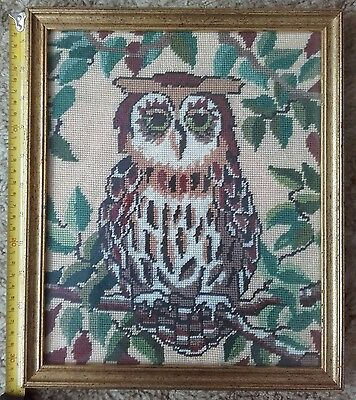 Owl embroidery. Needlework. Branches Garden. Framed. Kitsch. Brown green Vintage