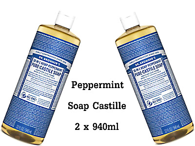 2 x 946ml DR BRONNERS Pure Castile Liquid Soap - Hemp Peppermint ( Bronner's )