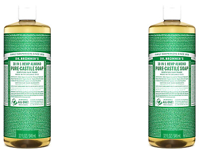 2 x 946ml DR BRONNERS Pure Castile Liquid Soap - Hemp Almond ( Bronner's )