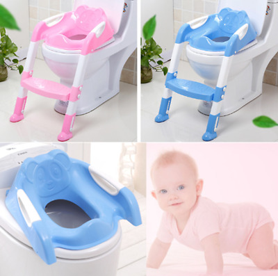 Trainer Toilet Potty Seat Chair Kids Toddler w// Ladder Step Up Training Stool KZ