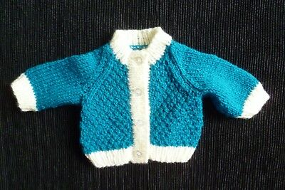 Baby clothes UNISEX BOY GIRL premature/tiny<6lbs/2.7kg soft teal/cream cardigan