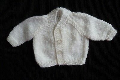 Baby clothes UNISEX BOY GIRL premature/tiny<5lbs/2.3kg soft white cardigan SHOP