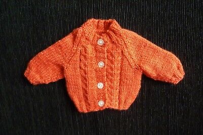 Baby clothes UNISEX BOY GIRL premature/tiny<5lbs/2.3kg rust cardigan SEE SHOP!