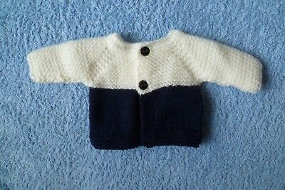 Baby clothes UNISEX BOY GIRL premature/tiny<4lb/1.8kg soft, navy/white cardigan