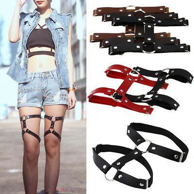 FX- Stockings Harness Garter Belt Suspenders Leg Ring Faux Leather Punk Gothic U