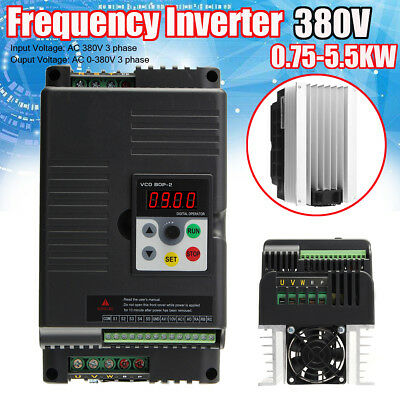 Updated 3-Phase VFD Variable Frequency Drive Inverter CNC Motor AC 380V 2.2KW