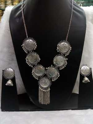 Bollywood Style Antique Look Silver Oxidized beautiful Necklace with Earrings