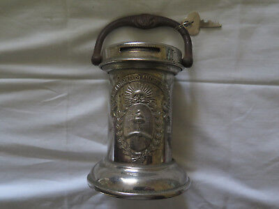 NATIONAL POSTAL SAVINGS BANK ARGENTINA ORIGINAL c1915 NICKEL PLATED MONEY BOX