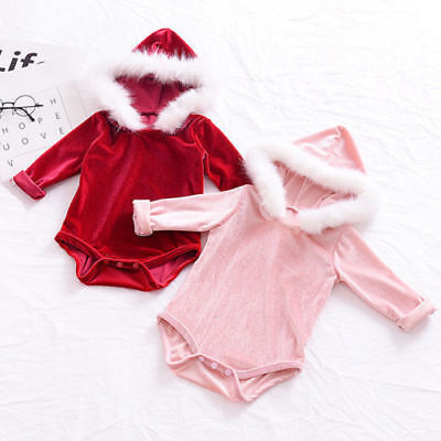UK Canis Newborn Baby Girl Xmas Fur Velvet Hooded Romper Bodysuit Outfit Clothes