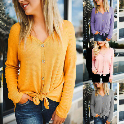 UK Womens Autumn Shirts Long Sleeve Button Down V Neck Tops Ladies Casual Blouse