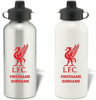 Personalised Liverpool FC Bold Crest Aluminium Sports Water Bottle Free Delivery