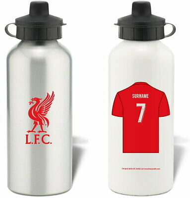 Personalised Liverpool FC Shirt Aluminium Sports Water Bottle - Free Delivery