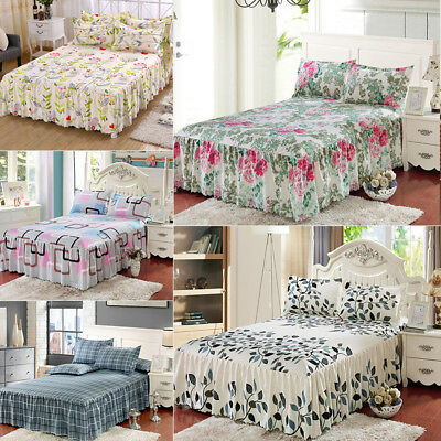 New Floral Fitted Sheet Cover Bed Sheet Coverlet + 2*Pillowcase Twin Full Queen