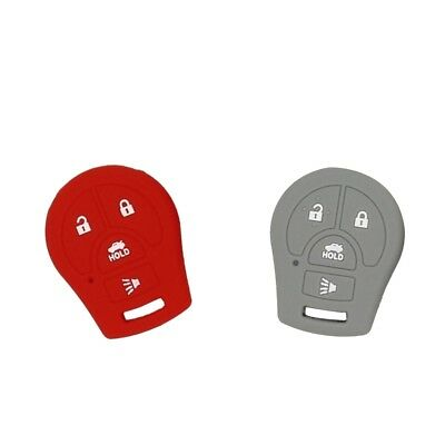 Pack of 2 Remote Keyless Car Key Fob Rubber Cover Case for Nissan Gray+Red