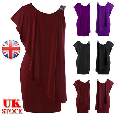 UK Plus Size Womens One Shoulder Bodycon Dress Flounces Evening Party Mini Dress