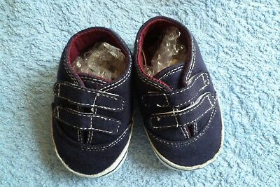 Baby clothes BOY 3-6m canvas,navy blue/white, touch fix padded pram shoes C SHOP