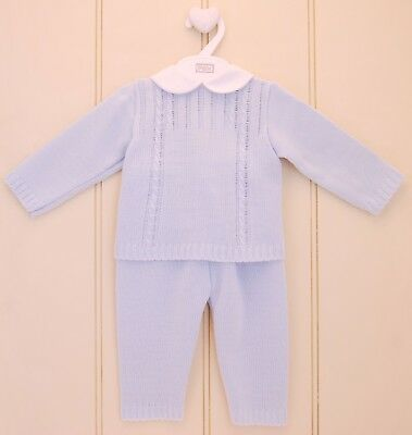 Pex Baby Boys Spanish Style Sky Blue Traditional Cable Knitted Suit
