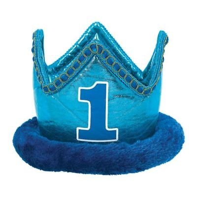 1st Birthday Blue Fabric Crown Baby Party Favour Hat