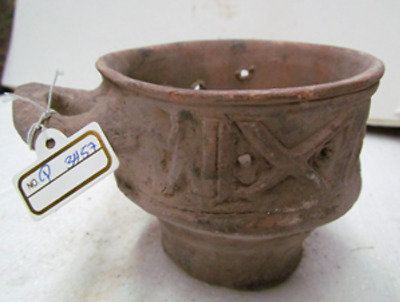 byzantine terra cotta small incense burner with horizontal handle p3457