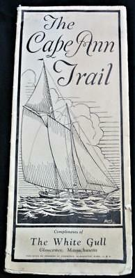 CAPE ANN MASSACHUSETTS SOUVENIR TOURIST TRAIL MAP BROCHURE 1930s VINTAGE