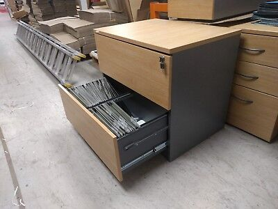 filling cabinet two draw desk height with space for two rows of files.