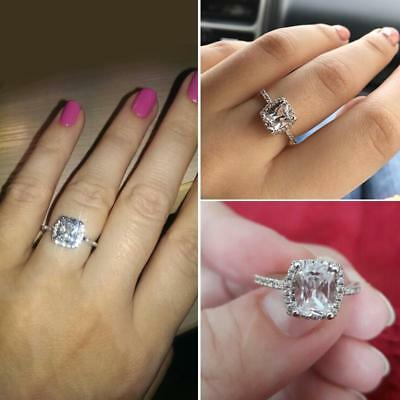 Forever US Engagement Ring in Round Diamond (D/VVS1) 2CT Ct 14K White Gold Over