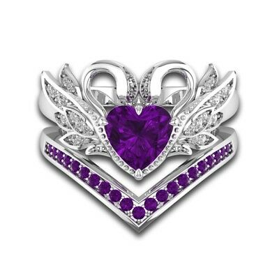Crown Shaped Swan Sterling Silver Ring Set With 1.5ct Purple Amethyst & Diamond