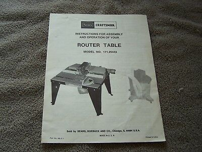 Sears Craftsman Router Table Owner S Manual Model 171 25443