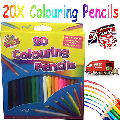 20 x LARGE COLOURING COLORING PENCIL PACK FOR SCHOOL CLASS CHILDREN/KIDS ART