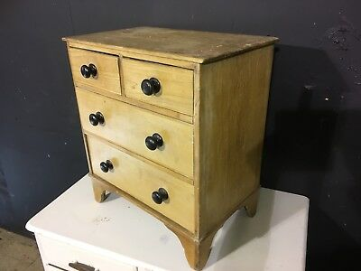 Unusual Antique Table Top Apprentice Piece Set Of Pine Chest Of Drawers 2+2