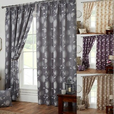 Freya Floral Fully Lined Pencil Pleat Tape Top Curtains