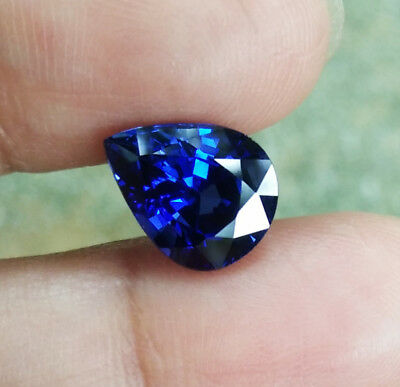 4.30cts. 10.5x8.5 mm. Pear Cut Blue Sapphire Great Color Excellent Corundum Gems