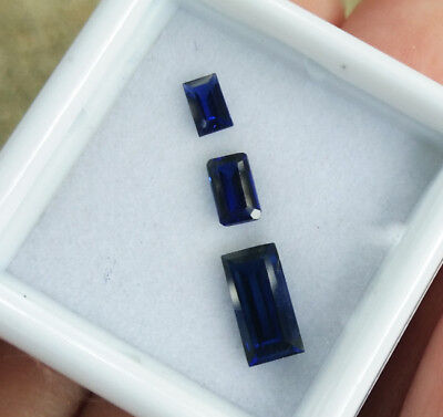 8x4 mm. Set of 3 items Baguette Cut Blue Sapphire Great Color Excellent Gems
