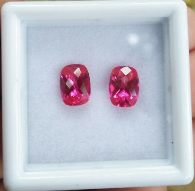 2.10ct. 7x5mm. Pink Sapphire Cushion Cut Great Color Excellent Cut (Earring Set)