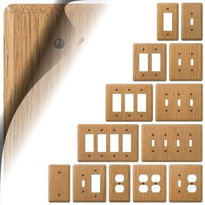 Light Oak Wood Switch Plate Cover Contemporary Outlet Rocker Toggle Duplex GFI