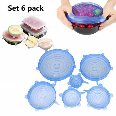 Reusable SILICONE STRETCH LIDS Set 6 pack Cling Wrap Universal Ultimate Instalid