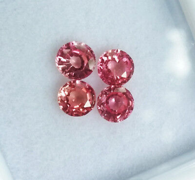 4 pcs. 4mm. TOP!! Round Padparadscha Sapphire Great Color Excellent Cut RARE!