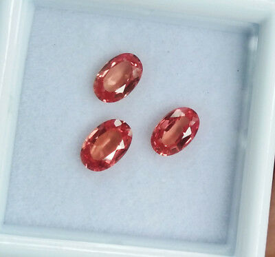 Lot of 3 pcs. 6x4mm. TOP! Oval Padparadscha Sapphire Great Color Excellent RARE!