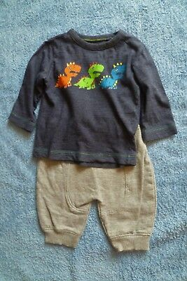 Baby clothes BOY 3-6m outfit dinosaur long sleeve top/grey soft trouser SEE SHOP