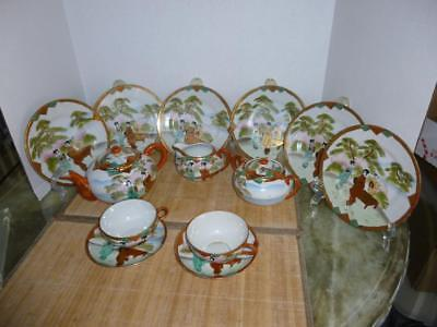 13 Pc. Geisha Girl Tea Set w/Dessert Plates-Hand Painted-Japan-Matching Scene