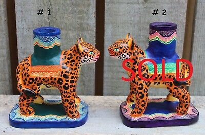 Leopard Hand Made Candle Holder SOLD SEPARATELY Mexican Folk Art Puebla Jungle