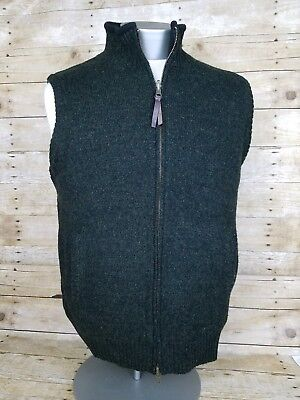 Pendleton Mens Sz L Shetland Wool Green Sweater Vest Reversible Black Fleece Zip