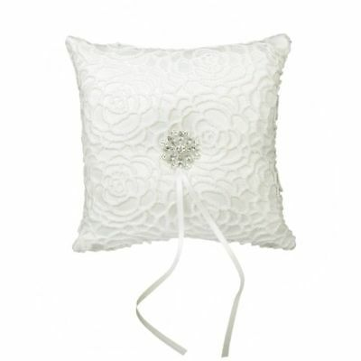 Satin Diamond Flower Ring Pillow for Wedding,15cmx15cm,White D5A4