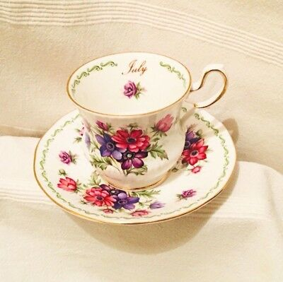 VTG Queens Rosina China Co Fine Bone China Special Flowers July Cup and Saucer