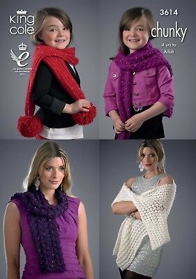 King Cole Knitting Pattern 3614 Ladies Girls Scarves & Wrap Chunky 4 Years +