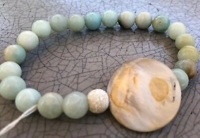 Light Green Agate Bracelet With Large Abalone Shell And Sterling Silver Bead