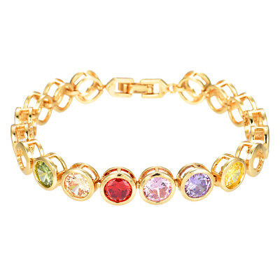 NEW Women 18K Gold plated Colorful CZ Gems Charm Bracelet Jewelry Party Gifts