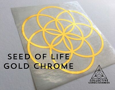 Seed of Life Gold Chrome Sticker Die-Cut Decal  - Sacred Geometry