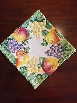 """Nove Serving Dish Italy Ceramic NEW Hand Painted Frutta Square 10.5"""" numbered"""
