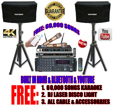 Singtronic Complete 2000W Karaoke System FREE 60,000 Songs With HDMI & Bluetooth